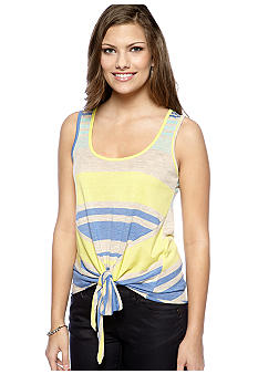 A Byer Sleeveless Tie Front Stripe Top