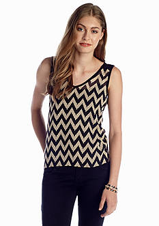 A Byer Chevron Woven to Knit Top
