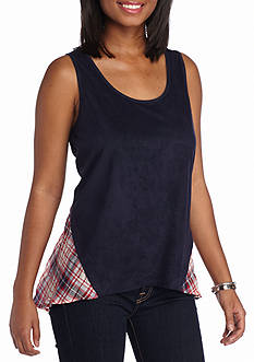 A. Byer Plaid Inset Back Top