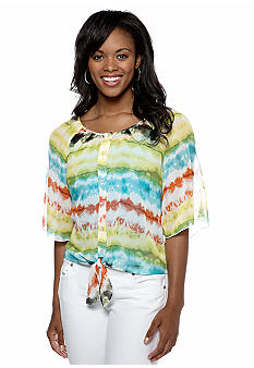 A Byer Tie Dye Cold Shoulder Blouse
