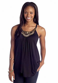 A Byer Embellished Neck Knit Tank