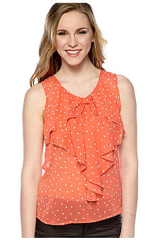 A Byer Sleeveless Dot Bow Top