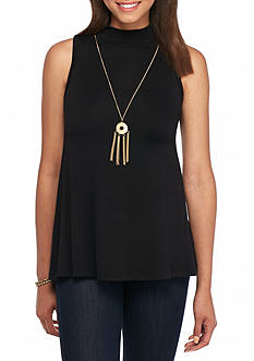 A. Byer Sleeveless Solid Necklace Knit Top
