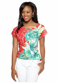A Byer Placement Floral High Low Tee