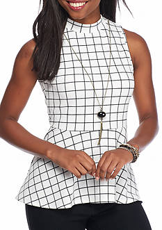 A. Byer Striped Mock Neck Peplum