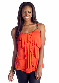 A Byer Embroidered Strap Tiered Knit Tank