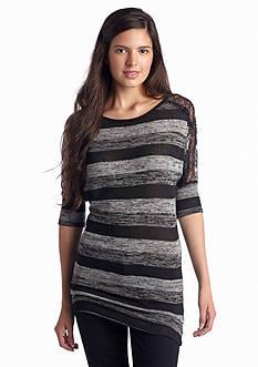 A Byer Stripe Lace Shoulder Knit Top