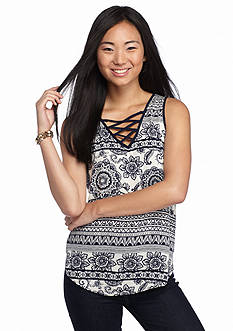 A. Byer Printed Lace Up Sleeveless Top