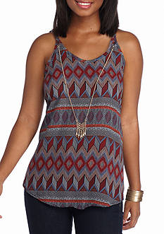 A. Byer Printed Halter With Necklace