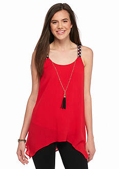 A. Byer Sleeveless Tunic Tassel Necklace Top