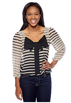 A Byer Stripe Woven Top with Bow