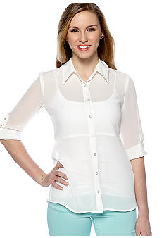 A Byer Three-Quarter Sleeve Chiffon Shirt