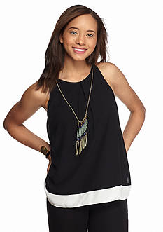 A. Byer Sleeveless Colorblock Necklace Top