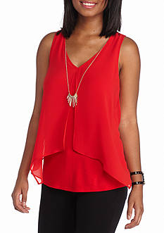 A. Byer Sleeveless Knit Top With Necklace