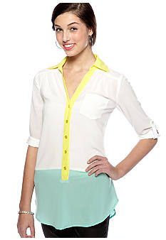 A Byer Three Quarter Color Block Tunic