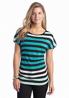 A Byer Multi Stripe Lace Back Knit Top