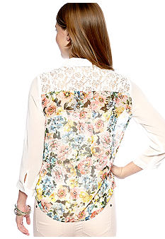 A Byer Three-Quarter Sleeve Shirt with Lace Back