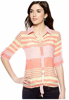 A Byer Coral Stripe Tie Front Button Down