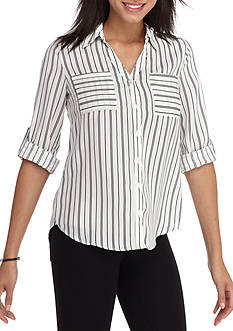 A. Byer White Grid Check Blouse