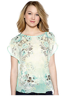 A Byer Short Sleeve Mirror Floral Knit
