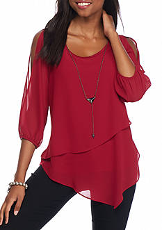 A. Byer Cold Shoulder Necklace Top