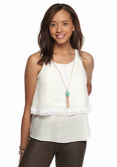 A. Byer Popover Lace Trim Necklace Top