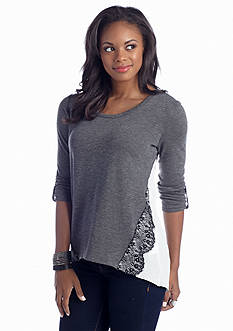 A Byer Knit to Woven Lace Trim Top