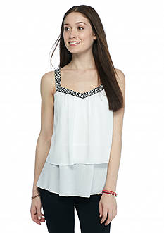 A. Byer Sleeveless Embroidered Taping Top