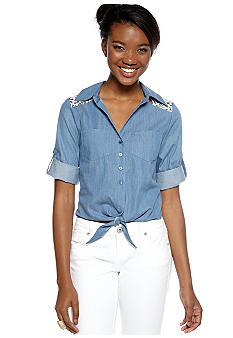 A Byer Chambray Tie Front Top
