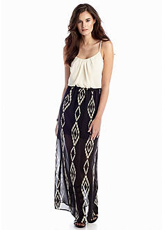 A Byer Tribal Blouson Maxi Dress
