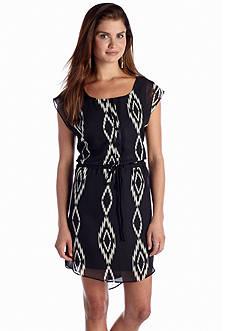 A Byer Button Front Tribal Dress