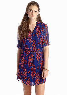 A Byer Printed Shirt Dress
