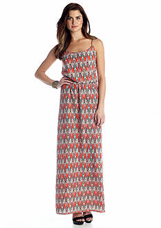 A Byer Blouson Chevron Maxi Dress