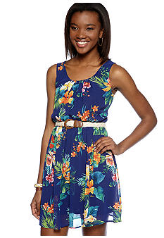 A Byer Tropical Dress with Braided Belt