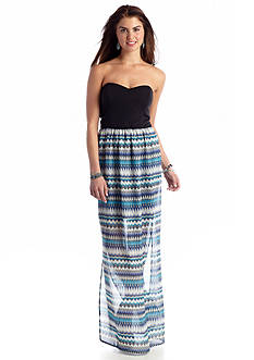 A Byer Bow Back Printed Maxi Dress