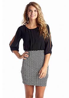 A Byer Chevron Skirt Blouson Dress