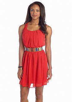 A Byer Belted Pleated Neck Dress
