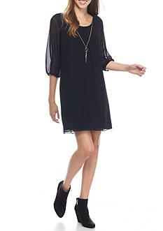 A. Byer Lace Neck Three-Quarter Sleeve Dress