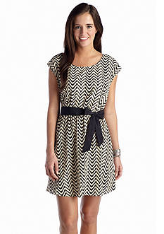 A Byer Chevron Belted Dress