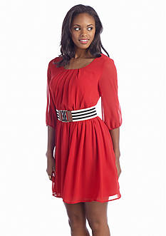 A Byer Pleat Front Belted Dress