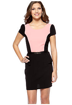 A Byer Cap Sleeved Peplum Dress