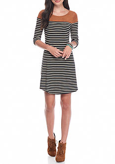 A. Byer Suede Stripe Mix Dress