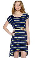A Byer Short Sleeve Stripe Tee Dress