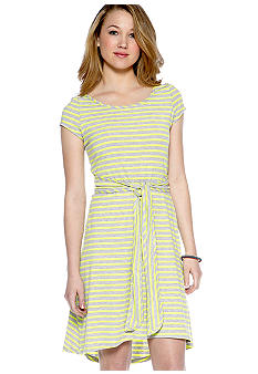 A Byer Short Sleeve Stripe Wrap Tee Dress