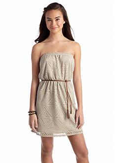 A Byer Geo Crochet Tassel Belted Dress