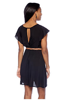 A Byer Flutter Sleeve Belted Dress