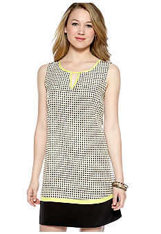 A Byer Sleeveless Geo Dot Sheath Dress