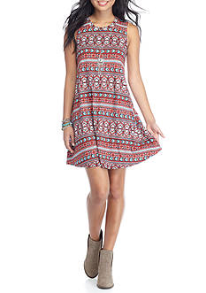 A. Byer Printed Dress with Tie Necklace