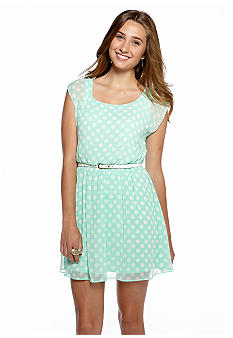 A Byer Polka Dot Belted Dress