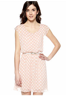 A Byer Sleeveless Polka Dot Belted Dress